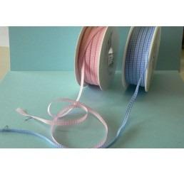 Geboortelint geblokt blauw 5mm per meter