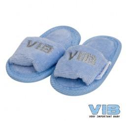 Baby Slipper 'VIB' Licht Blauw+Zilver