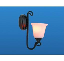 Wandlamp, zwart met witte kelk