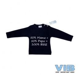 T-Shirt '50%mama + 50%papa = 100% IKKE' Donkerblauw+Donkerblauw