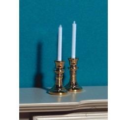 Kandelaar met kaarsen, 2 stuks
