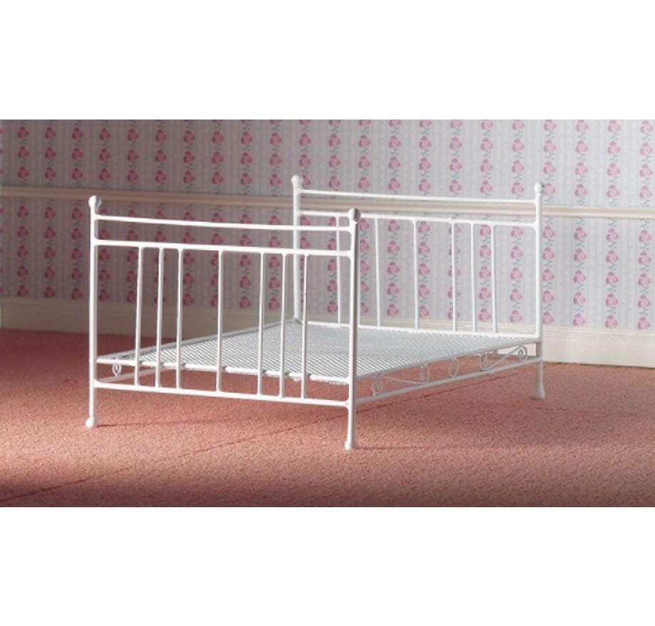 Metalen 2 Persoonsbed.Wit Metalen 2 Persoonsbed Dolls House Emporium 4387