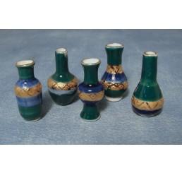 Blauwe en gouden vazen, 5 stuks