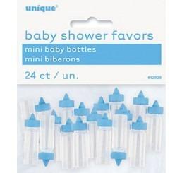 Kunststof mini babyflesjes blauw per 24 st