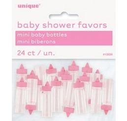 Kunststof mini babyflesjes roze per 24 st