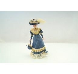 Victiaanse vrouw Blauwe kleding