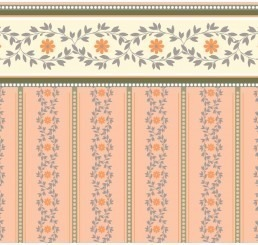 zalm/roze bloemetjes behang