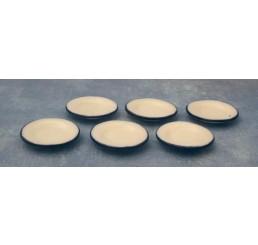 Witte borden blauwe rand, 6 stuks