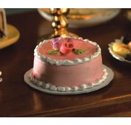 Roze met witte taart